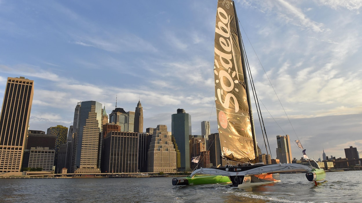 Le navigateur français Thomas Coville a pulvérisé le record de la traversée de l'Atlantique en solitaire avec un temps de 4 j 11 h 10 min.