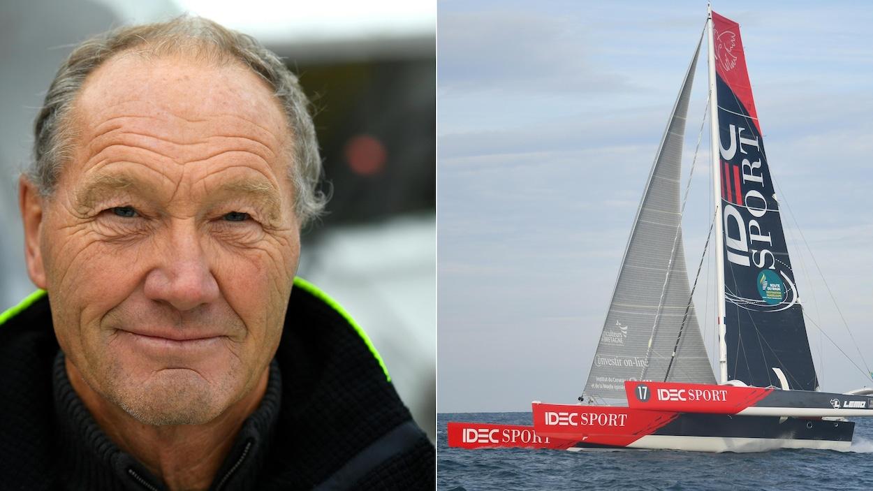 Le navigateur Francis Joyon et son multicoque Ultim, Idec Sport