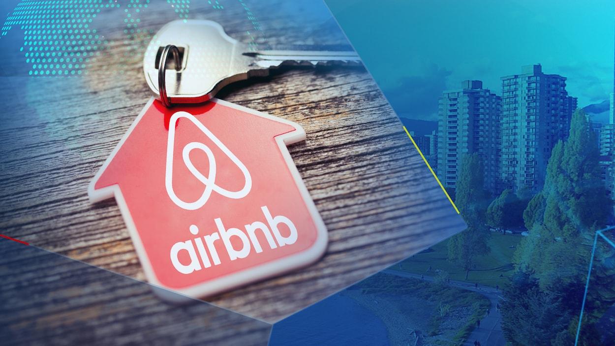 Un trousseau de clé arborant le logo de AirBNB en avant plan d'une image de la ville de Vancouver.