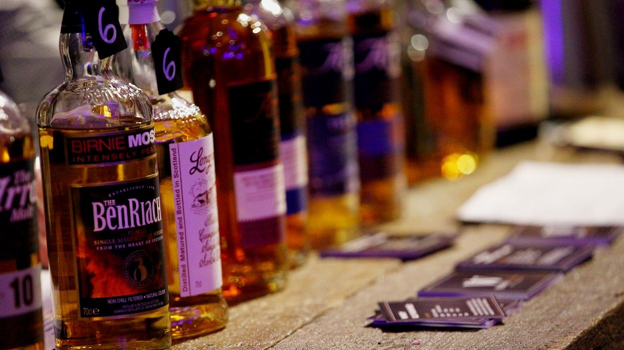 Quelques bouteilles d'alcool alignées sur un bar.