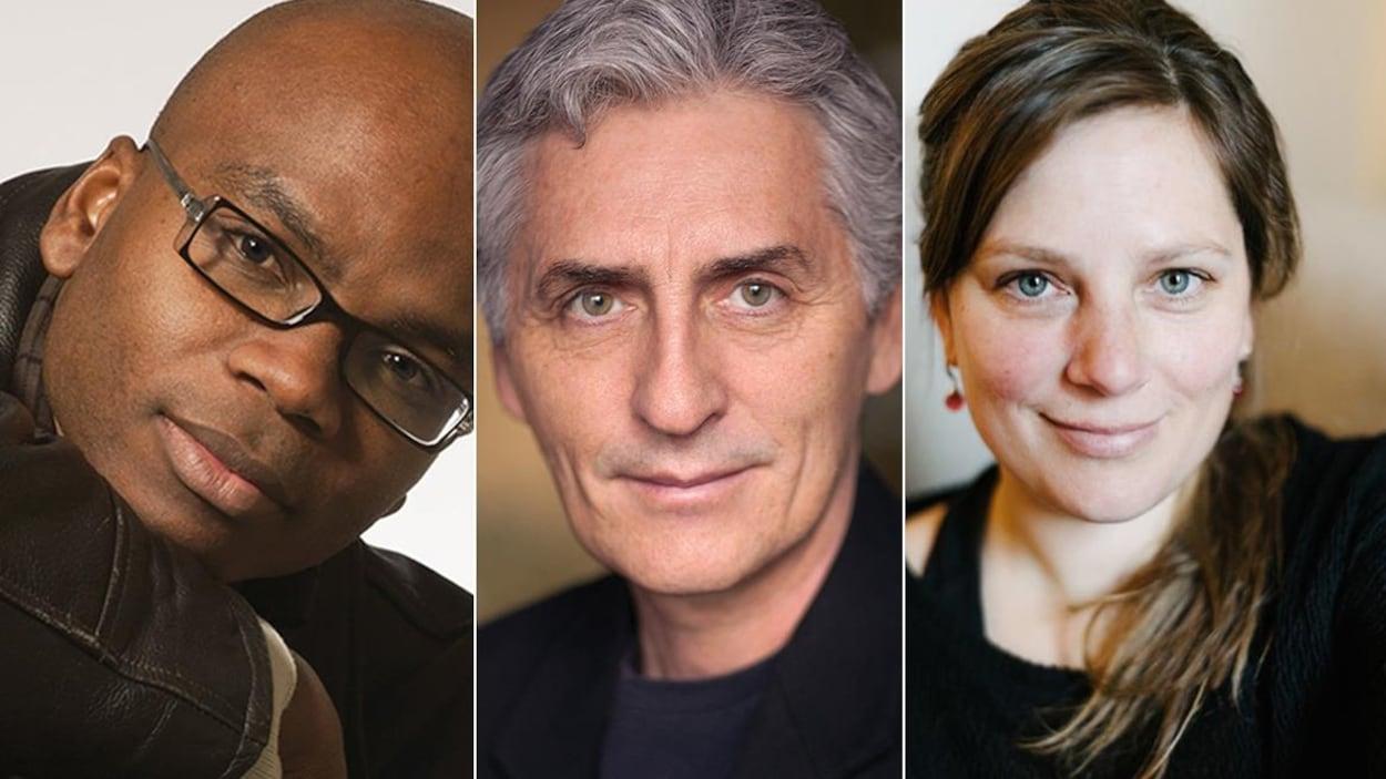 Montage photo des portraits des auteurs (de gauche à droite) Edem Awumey, Larry Tremblay et Annie-Claude Thériault.