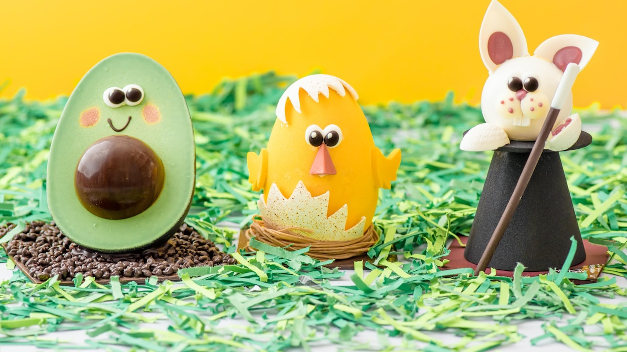 Des chocolats de Pâques. Ils ont la forme d'un avocat, d'un poussin et d'un lapin.