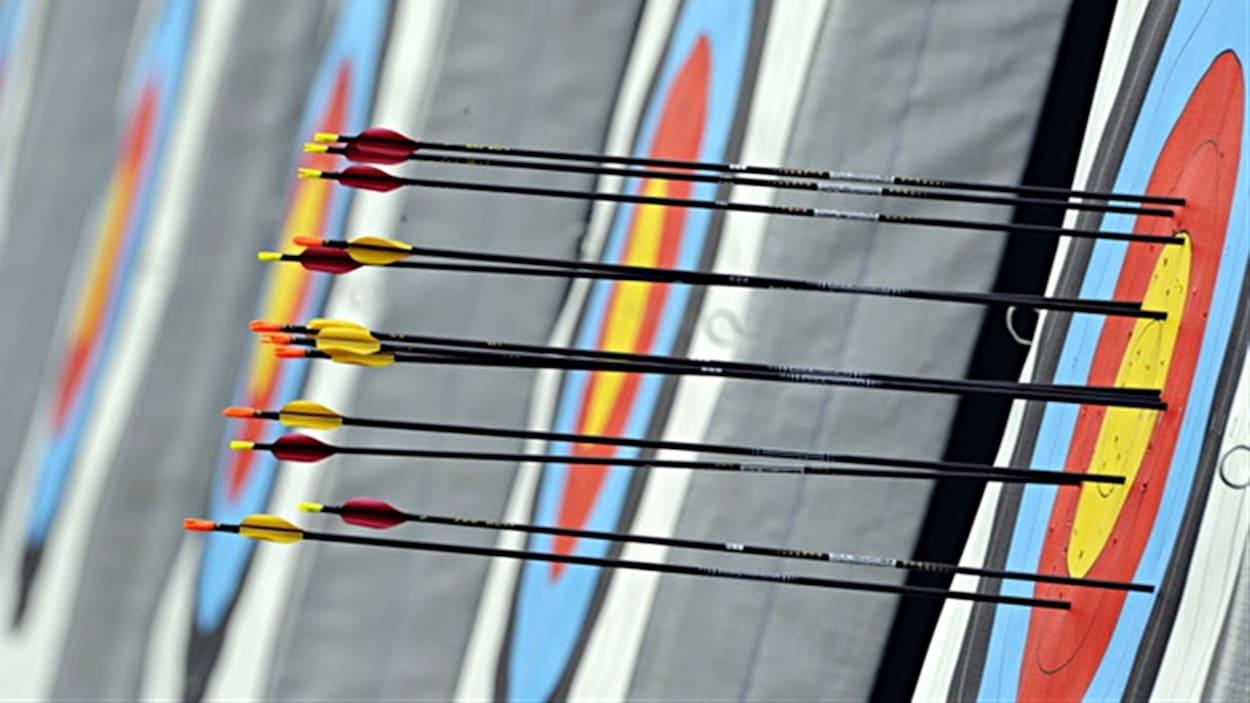 Des flèches dans une cible.