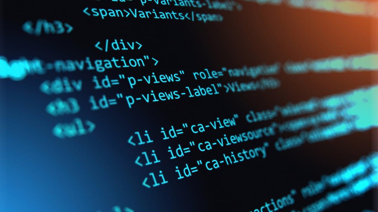 Lignes de code sur un écran d'ordinateur.