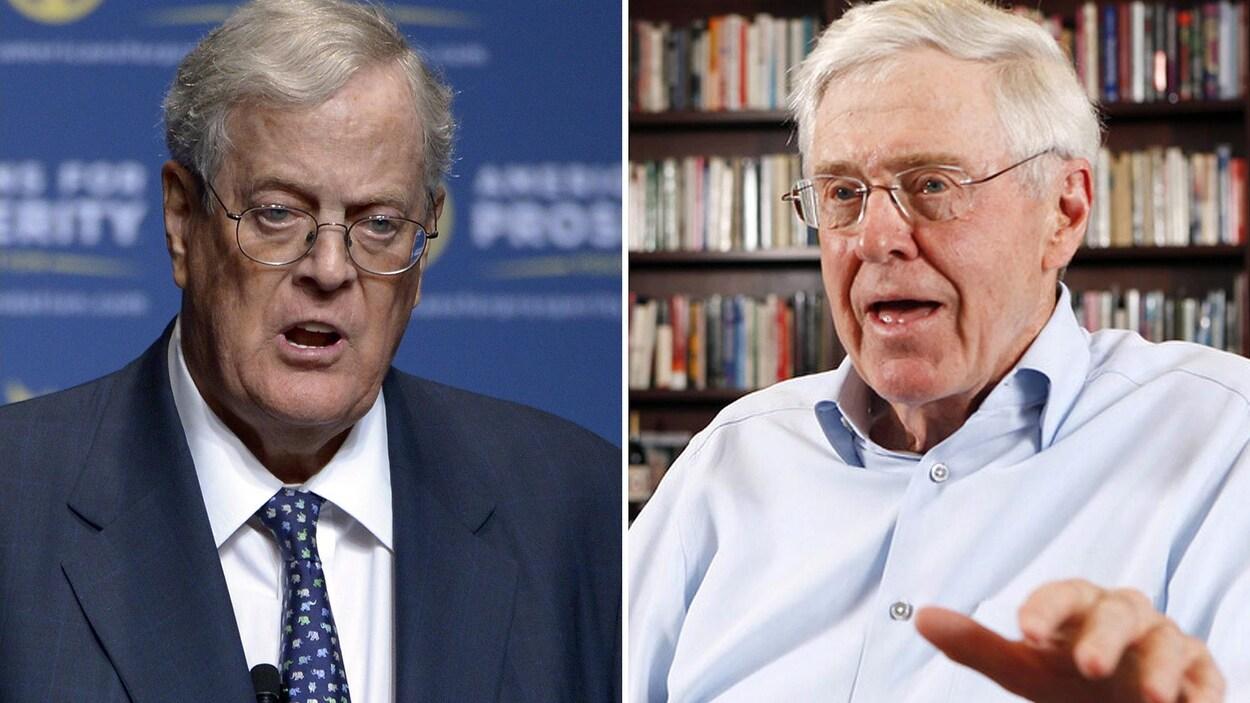 Deux hommes portant des lunettes parlent.