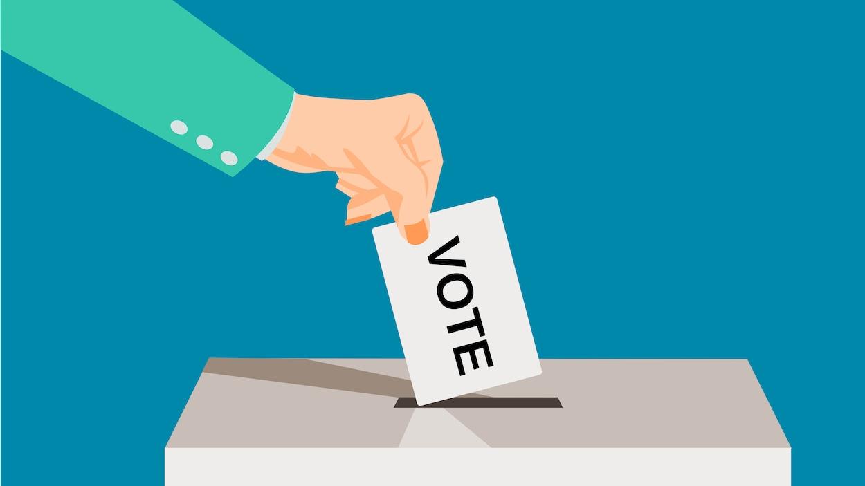 En dessin, une main dépose un bulletin de vote dans une boîte.