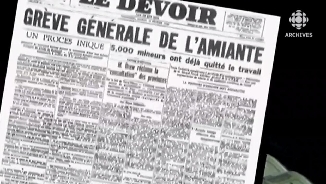 La une du quotidien Le Devoir annonçant la grève des mineurs de l'amiante en 1949.