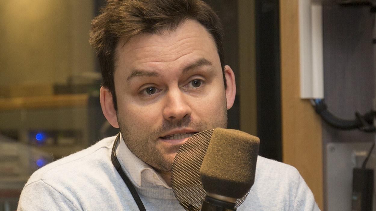 Paul St-Pierre Plamondon au studio 91 de Radio-Canada, à Montréal, le 21 janvier 2018