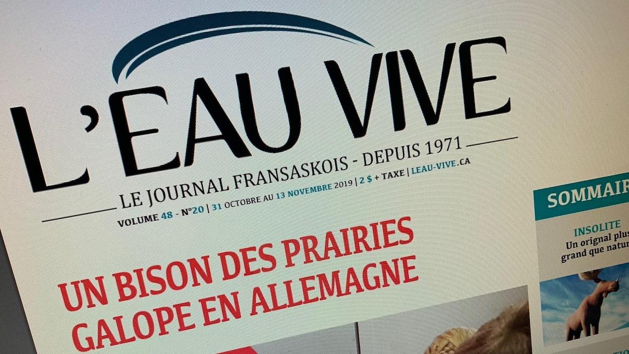 Couverture du journal l'Eau vive où on peut lire en une le titre Un bison des prairies galope en Allemagne.