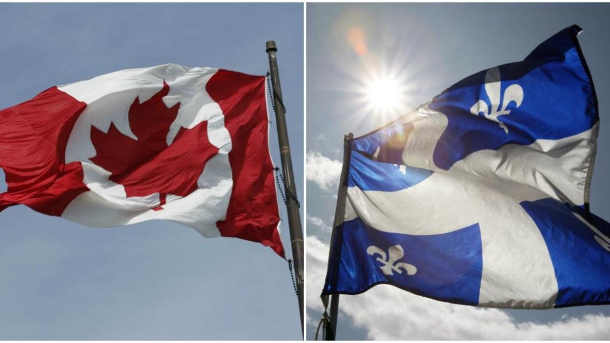 Drapeau du Canada à droite et le drapeau du Québec à gauche.