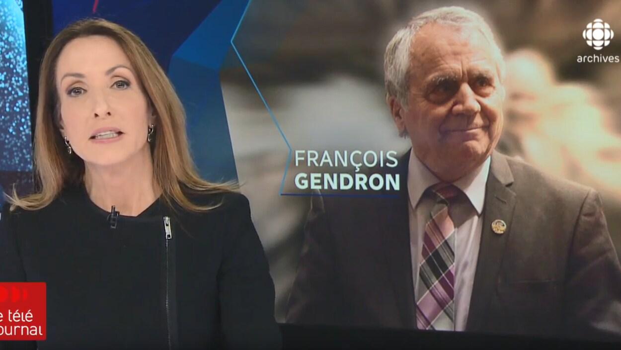 L'animatrice Claudine Boubonnais annonce le retrait politique de François Gendron. On retrouve à l'arrière-plan une grande photo de monsieur Gendron.