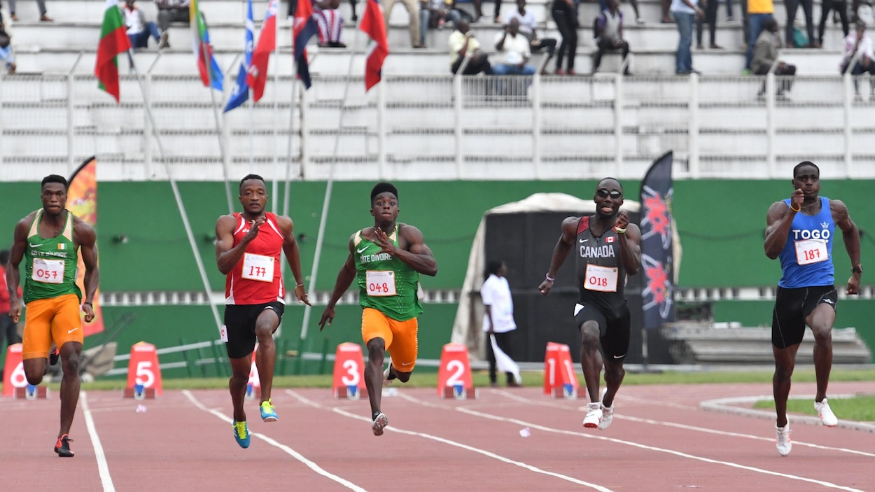 La finale du 100 m aux Jeux de la francophonie d'Abidjan, remportée par Dylan Sicobo des Seychelles. Le Canadien Bismark Boateng (no 18) a gagné le bronze.