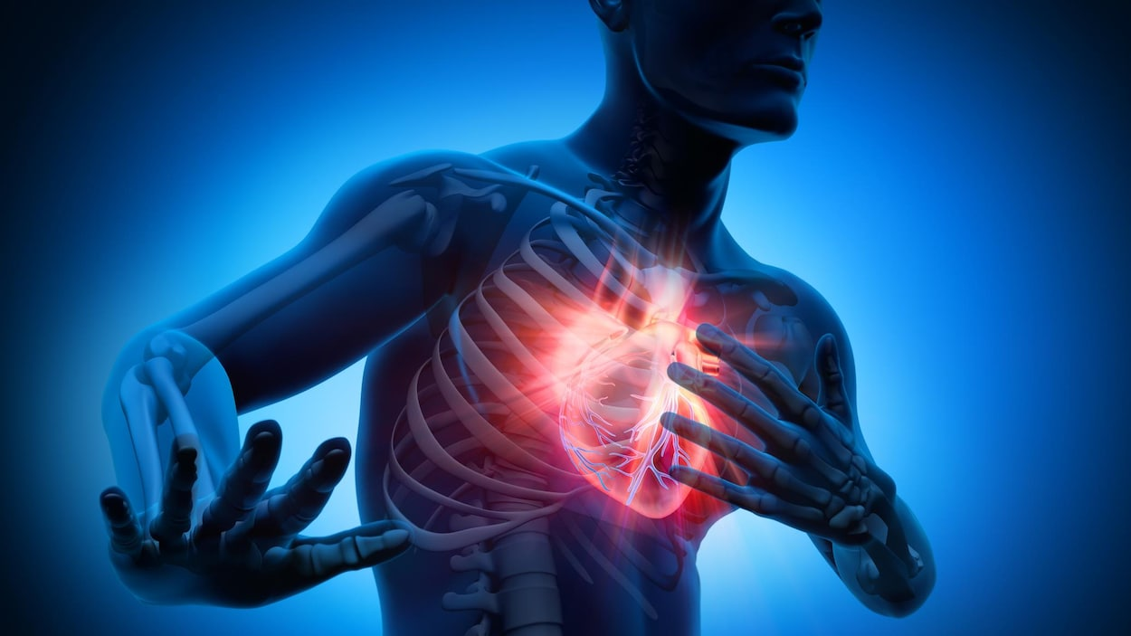 Une illustration en 3D montre une personne ayant un malaise au niveau de la poitrine.