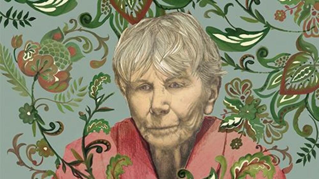 Une illustration du visage de Béatrice Picard, qui joue le personnage de Marguerite, avec un fond vert-gris et des dessins de feuilles.