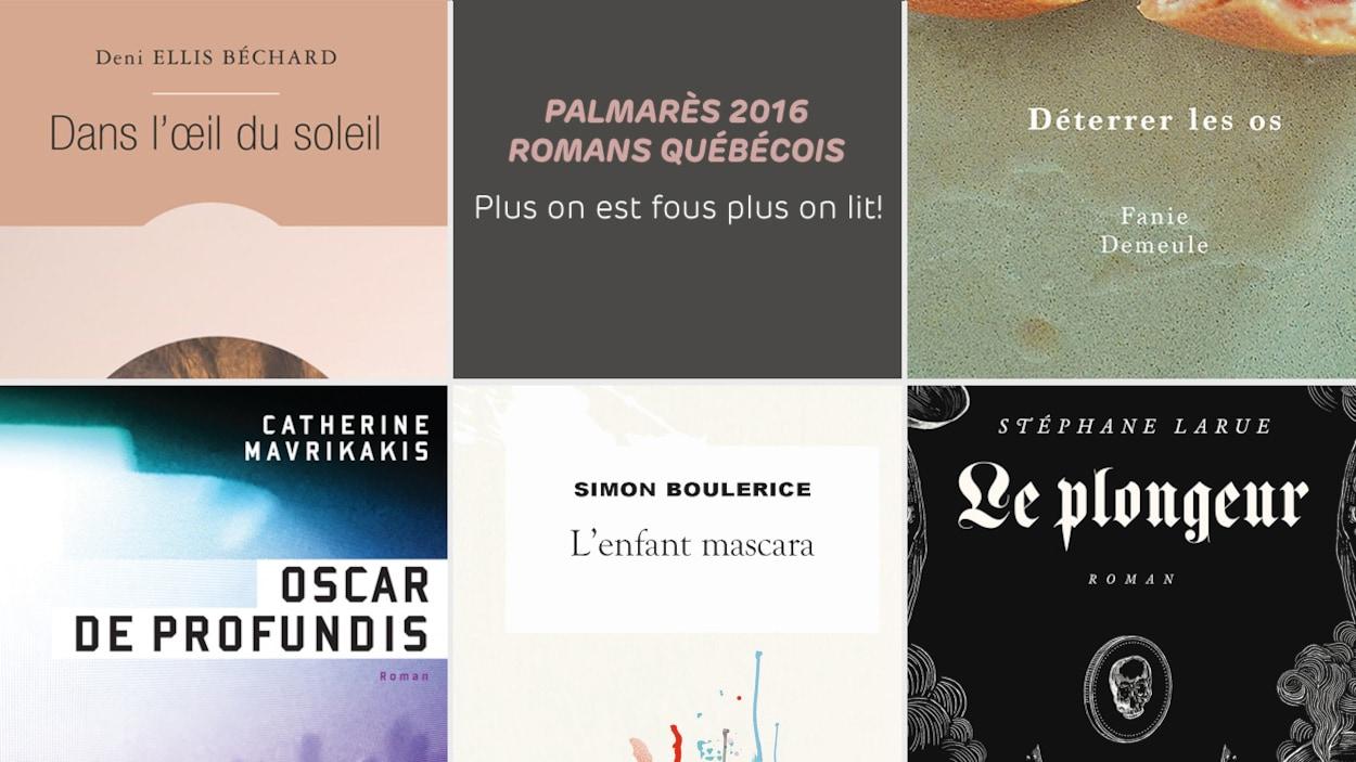 Une partie des couvertures des romans de Deni Ellis Béchard, Catherine Mavrikakis, Simon Boulerice, Stéphane Larue et Fanie Demeule