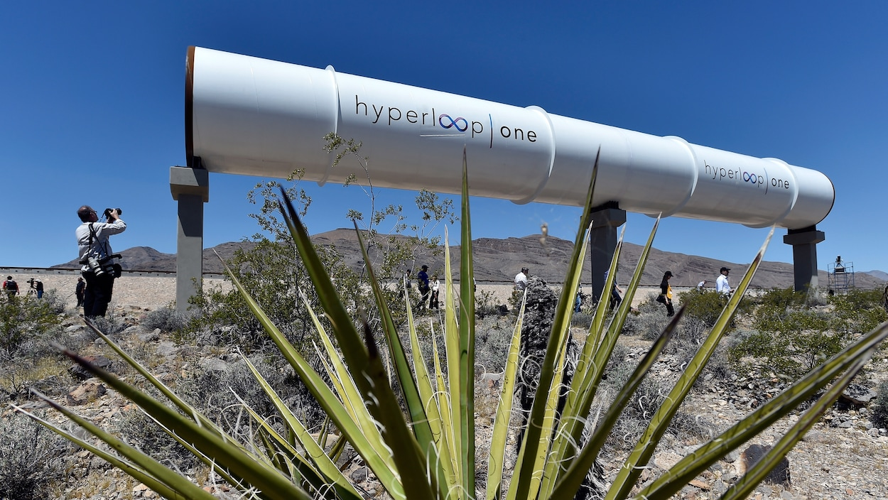 Un tube du projet Hyperloop au nord de Las Vegas, au Nevada, le mai 2016