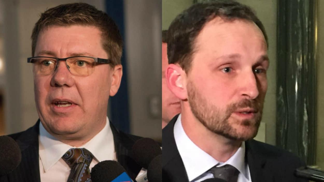 Montage des visages du premier ministre de la Saskatchewan, Scott Moe, et du chef de l'opposition, Ryan Meili.