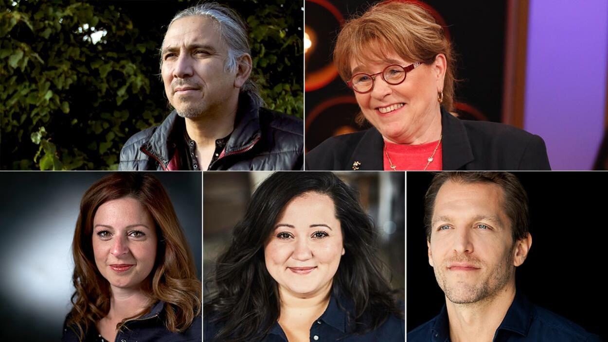 Montage photo des portraits des 5 combattants du Combat national des livres 2019 : Stanley Vollant, Edith Butler, Marie-Maude Denis, Manal Drissi et Deni Ellis Béchard