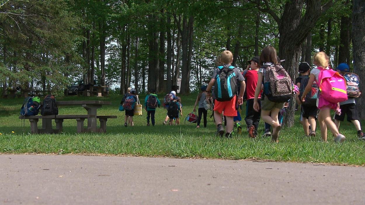 Des enfants marchent dans un parc avec leurs sacs à dos.