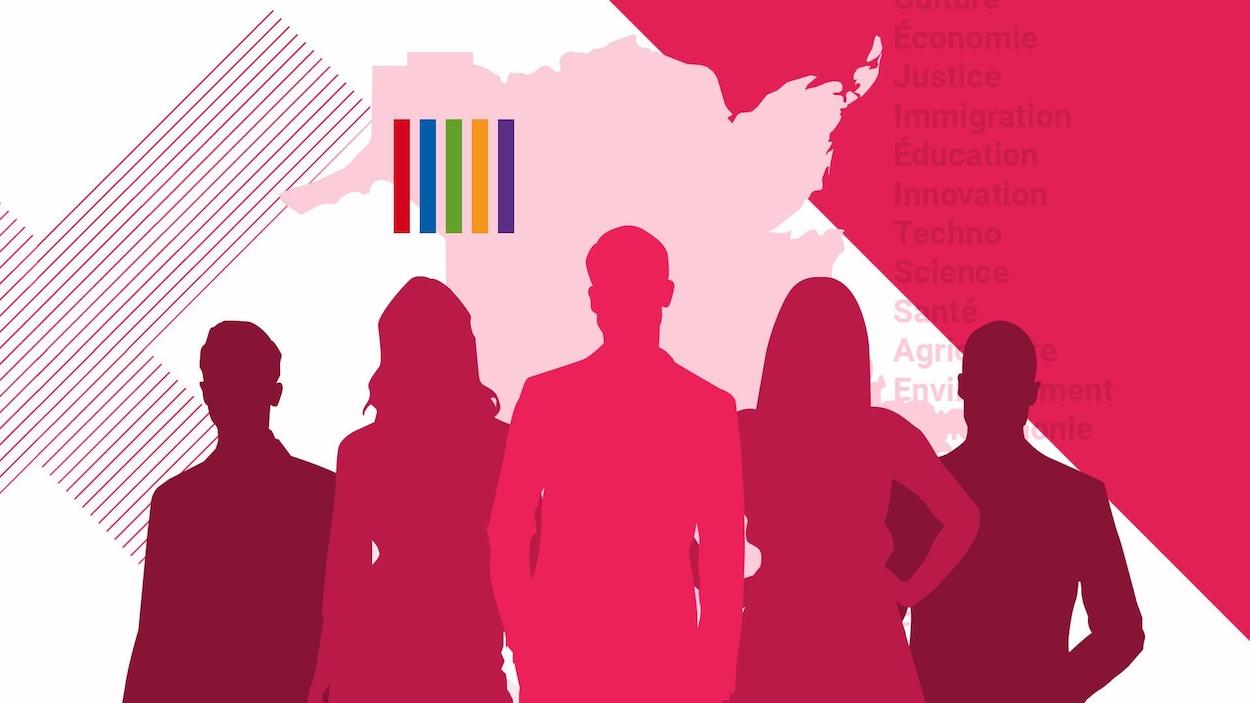 Silhouettes de candidats sur fond de carte du Nouveau-Brunswick, ainsi que les couleurs des partis.