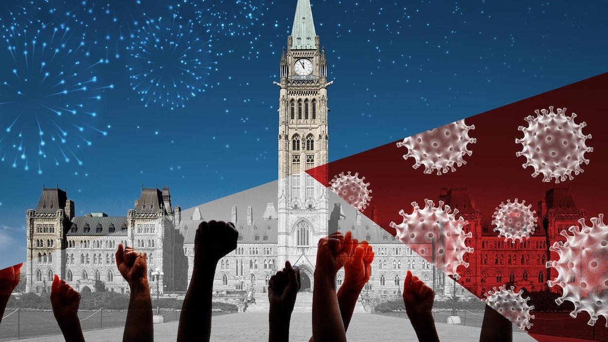Des virus, des poings levés dans les airs et des feux d'artifice superposés sur une image du parlement d'Ottawa.