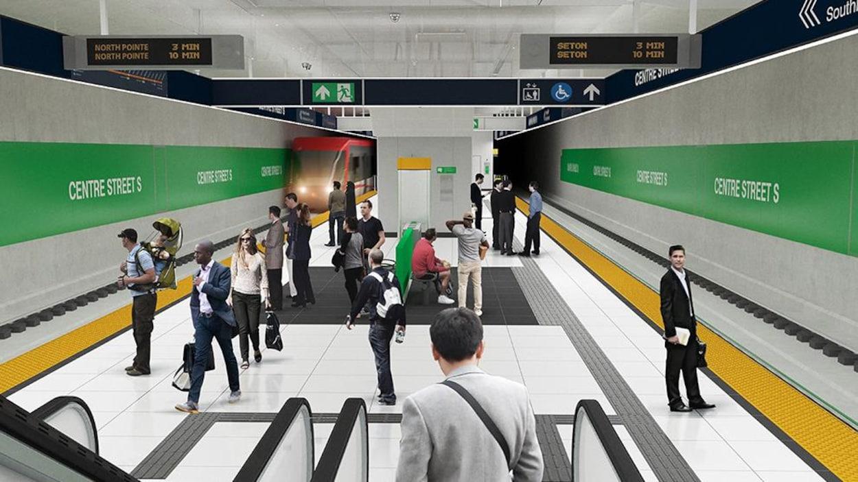 Un dessin d'une station de train souterraine.