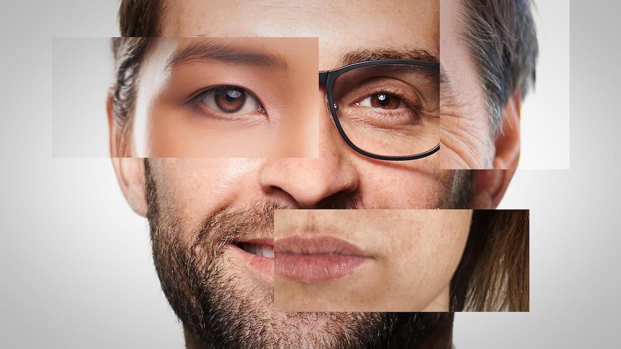 Un visage composé de plusieurs photos différentes pour illustrer différents attributs de genre et de diversité.