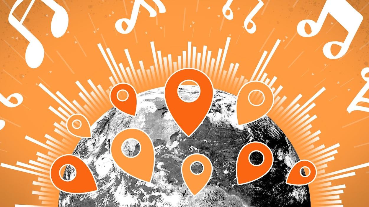 Illustration de la planète Terre erre sur laquelle se trouvent plusieurs marqueurs géographies. La planète est entourée d'éléments qui représentent des sons.