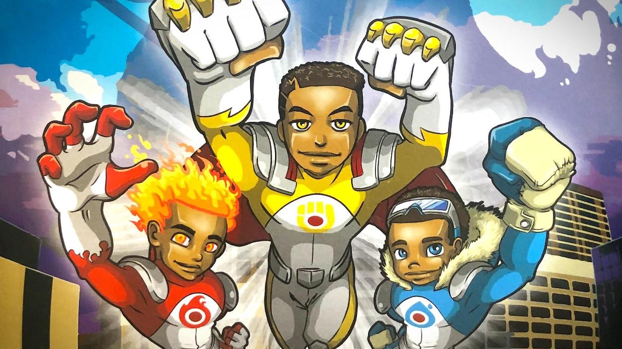 Une illustration de trois jeunes superhéros en train de voler.