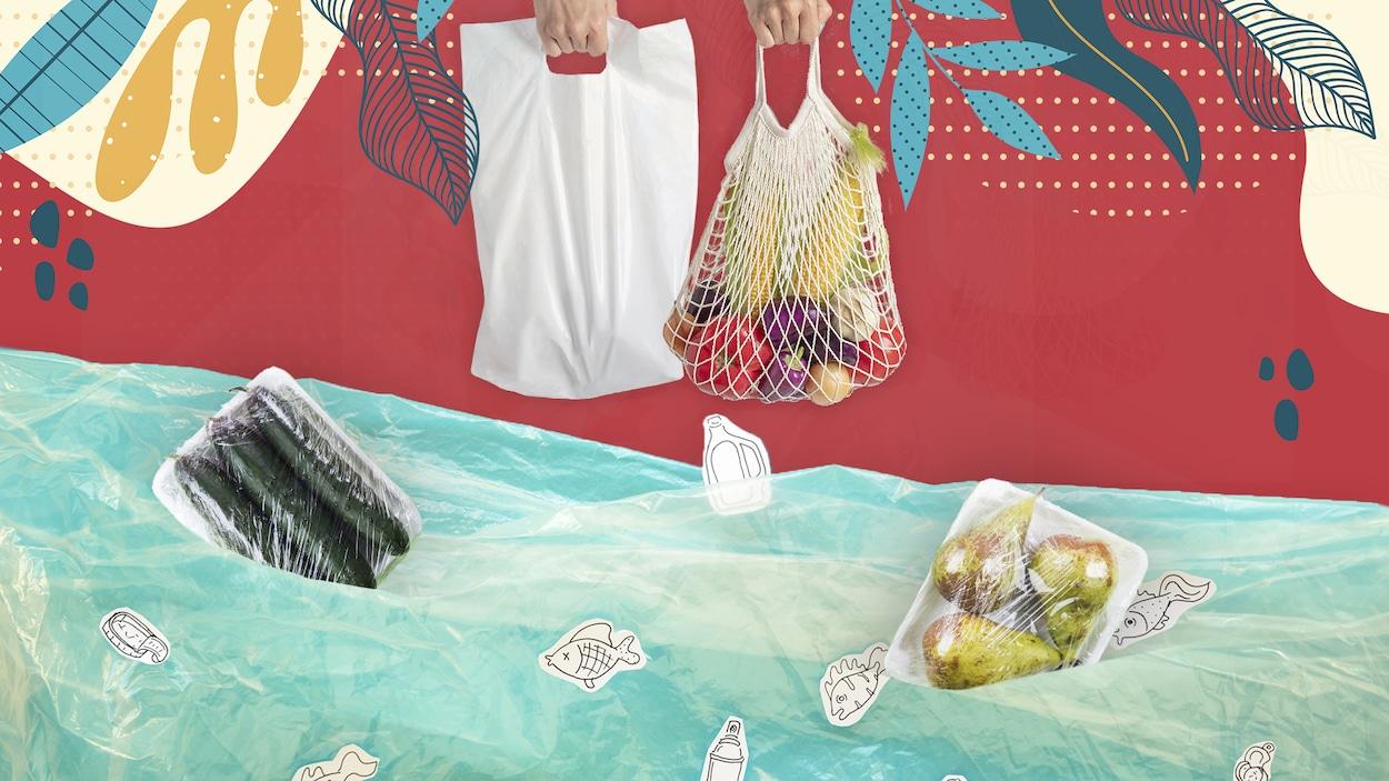 Une illustration de sacs réutilisables et d'aliments qui flottent sur une étendue de plastique représentant de l'eau.