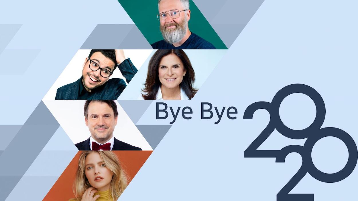 Une mosaïque des comédiens avec la mention «Bye bye 2020».