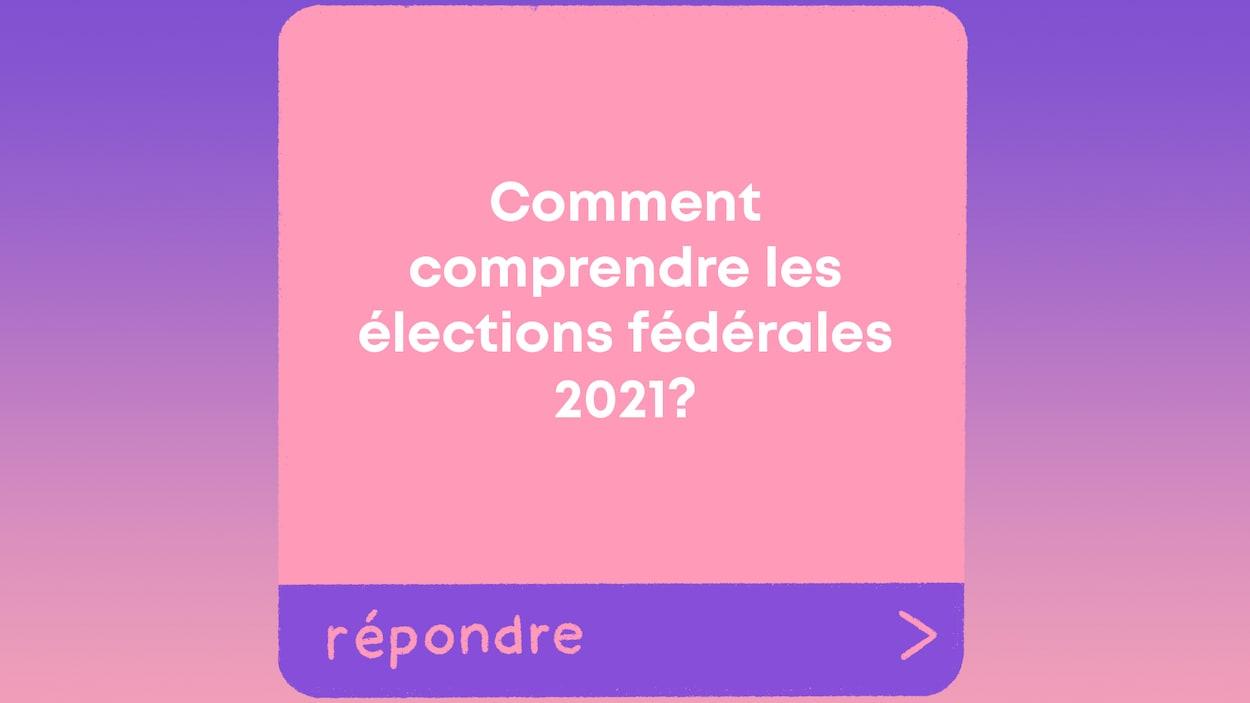"""La question """"Comment comprendre les élections fédérales 2021?"""" apparaît dans une boîte de question similaire à celles que l'on retrouve sur Instagram."""
