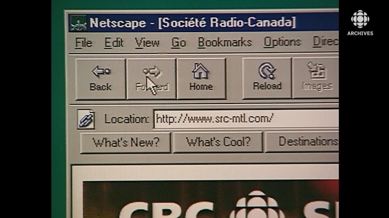 Page web de Radio-Canada dans le fureteur Netscape.