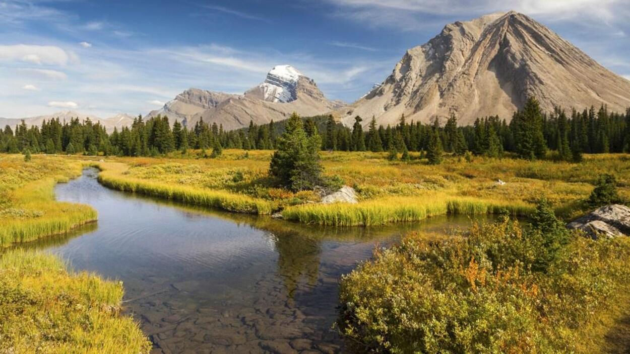 La photographie représente une rivière et une montage, qui ont été captées au parc national de Banff dans les Rocheuses canadiennes.