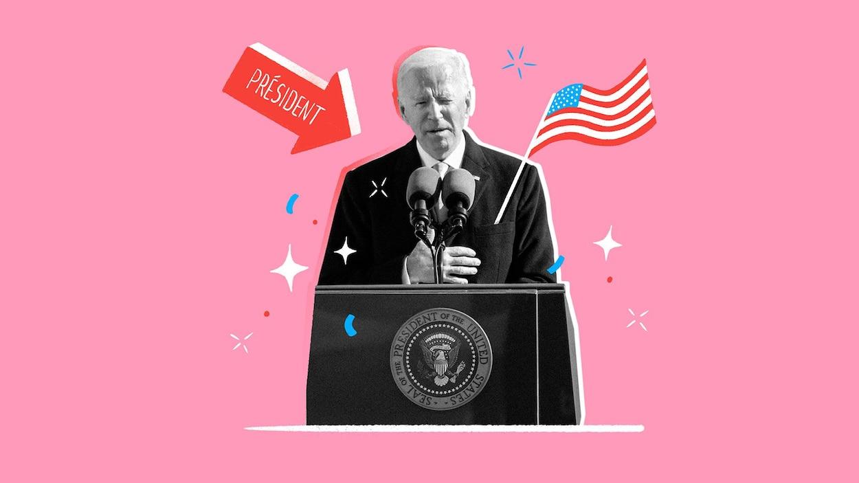 Illustration de Joe Biden faisant un discours lors de son investiture.