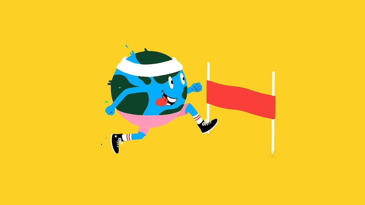 La planète Terre, en dessin, est habillée en tenue de sport et court vers une ligne d'arrivée.