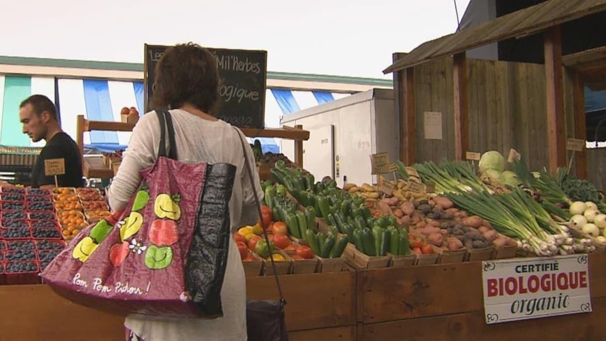Une dame, de dos, regarde les légumes dans un marché public.