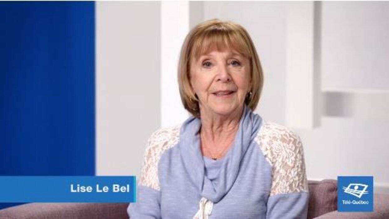 Lise Le Bel dans une capsule sur les 50 ans de Télé-Québec.