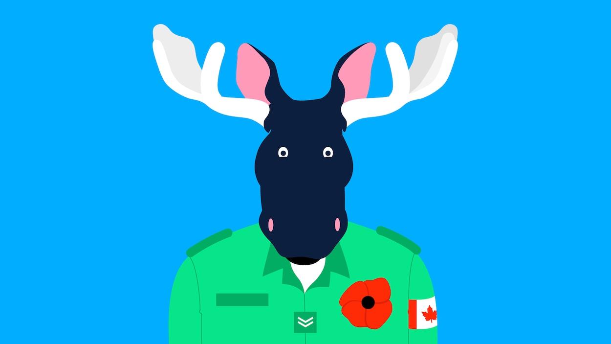 Un soldat à tête d'orignal porte un coquelicot, accroché du côté du coeur.