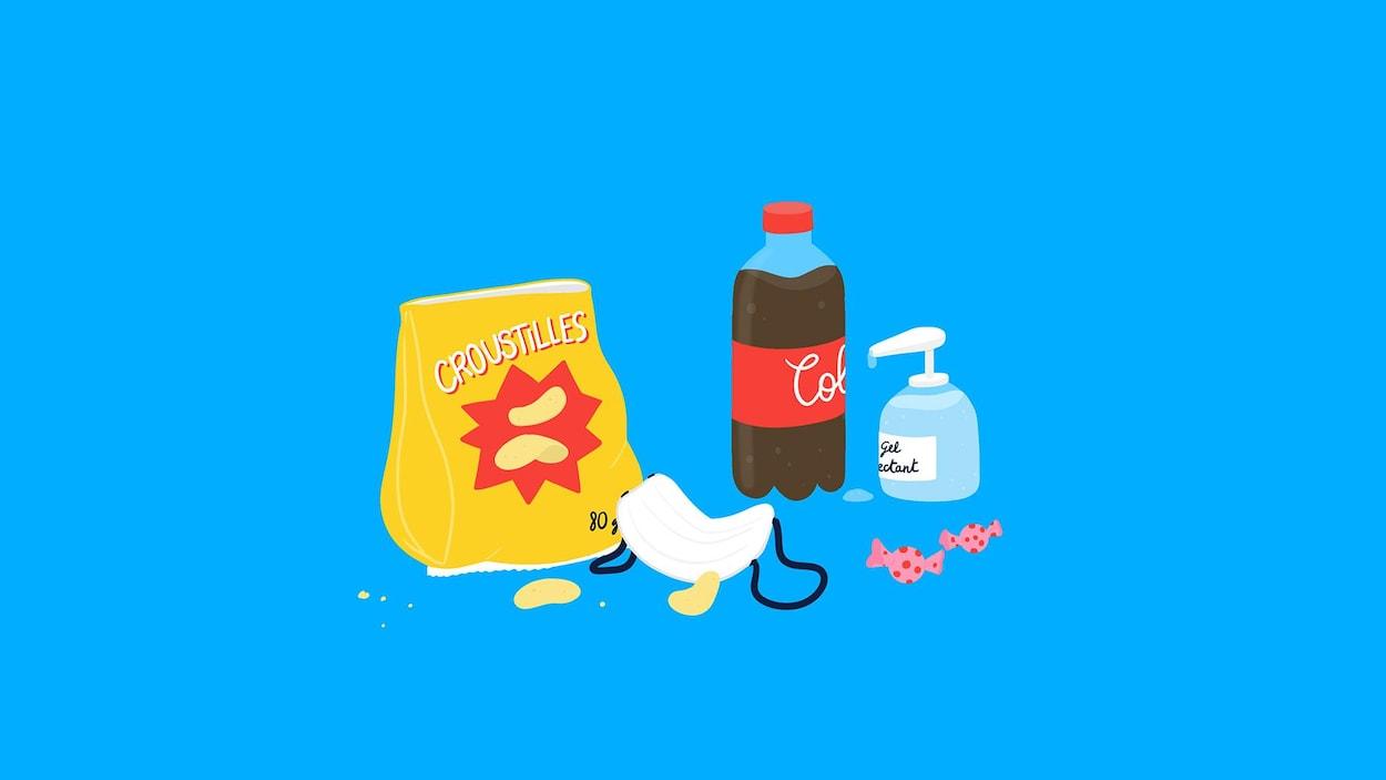 Une illustration d'une bouteille de boisson gazeuse, d'un sac de chips, aux côtés d'une bouteille de gel désinfectant et d'un masque.