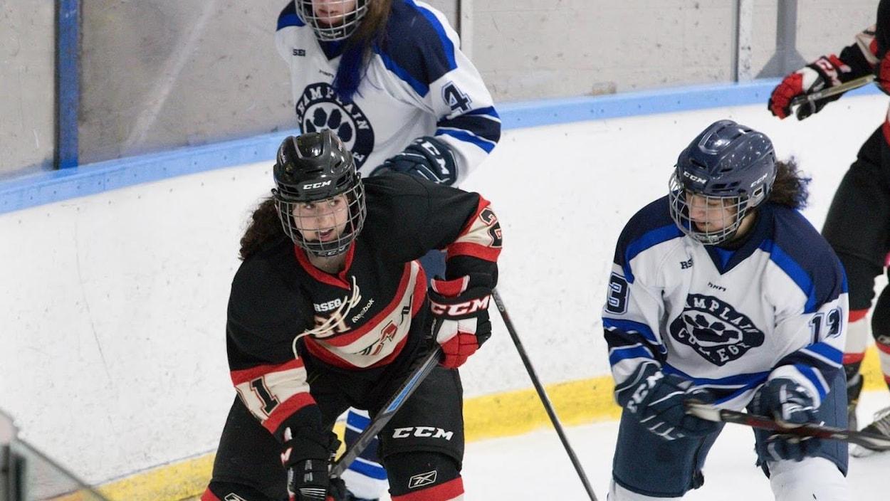 Les Titans de Limoilou pendant leur partie contre les Cougars de Champlain-Lennoxville