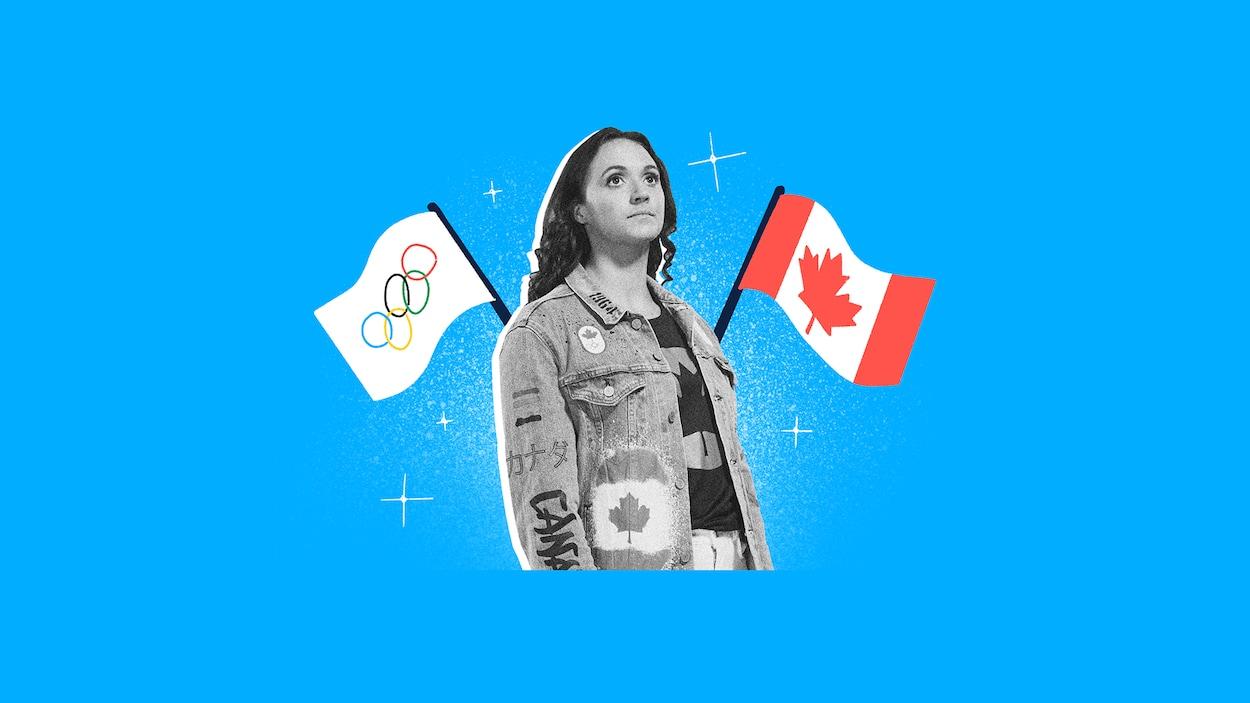 Montage photo d'une mannequin portant la veste qui fait controverse, entourée du drapeau du Canada et du drapeau des Jeux olympiques.