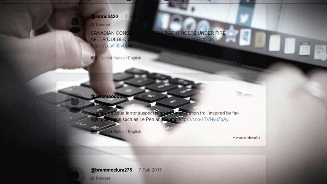Montage photo montrant quelqu'un qui écrit à l'ordinateur.