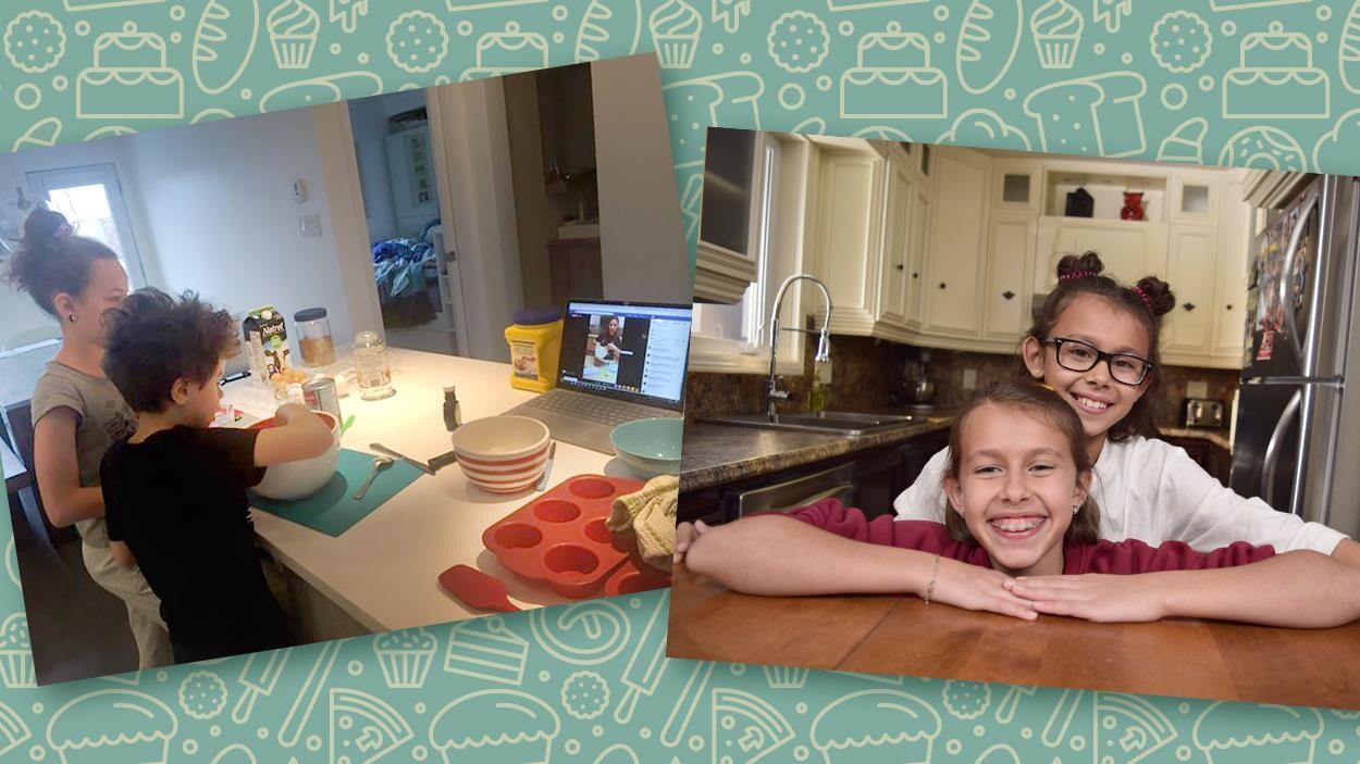 On voit deux enfants cuisiner à gauche, et à droite Mélia et Alys Coutu tout sourire dans leur cuisine