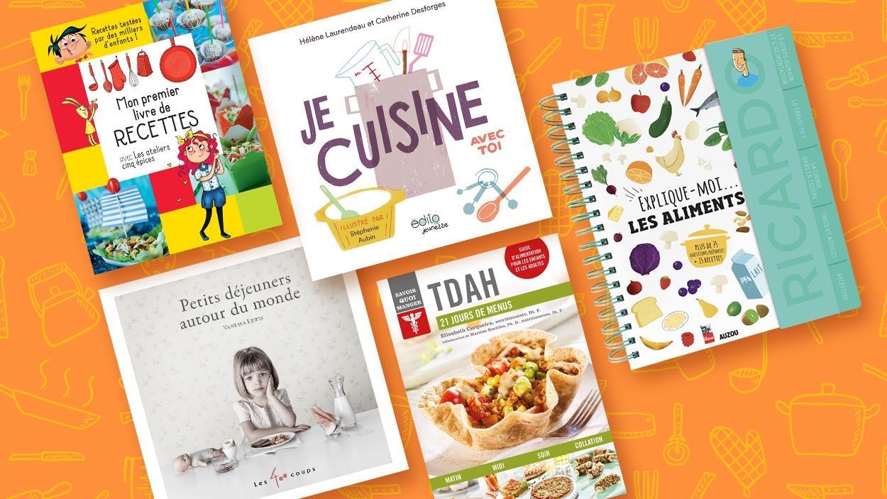 On voit 5 livres jeunesses qui parlent de cuisine
