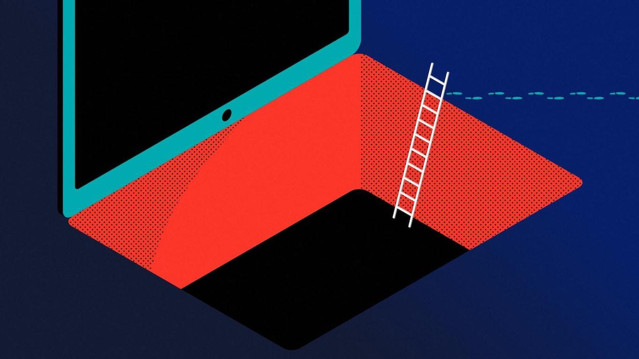 Illustration d'un ordinateur portable dont le clavier est maintenant un trou d'où émerge une échelle et des traces de pas quittent l'ordinateur.