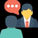 Icône de deux personnes en face à face qui discutent