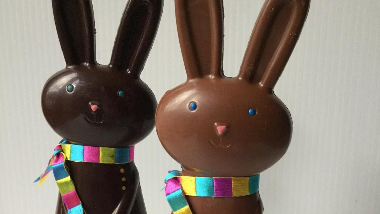 Deux lapins de Pâques en chocolat.