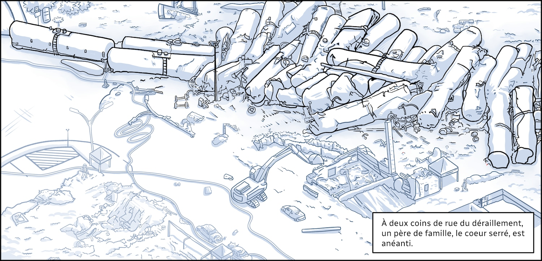 Du haut des airs, on voit les wagons entassés les uns sur les autres au centre-ville de Lac-Mégantic. À deux coins de rue du déraillement, un père de famille, le coeur serré, est anéanti.