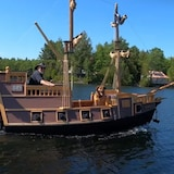 Bob Winslow, a retired carpenter, spent the past eight months turning a 13-foot fiberglass boat into a pirate ship using salvaged material.